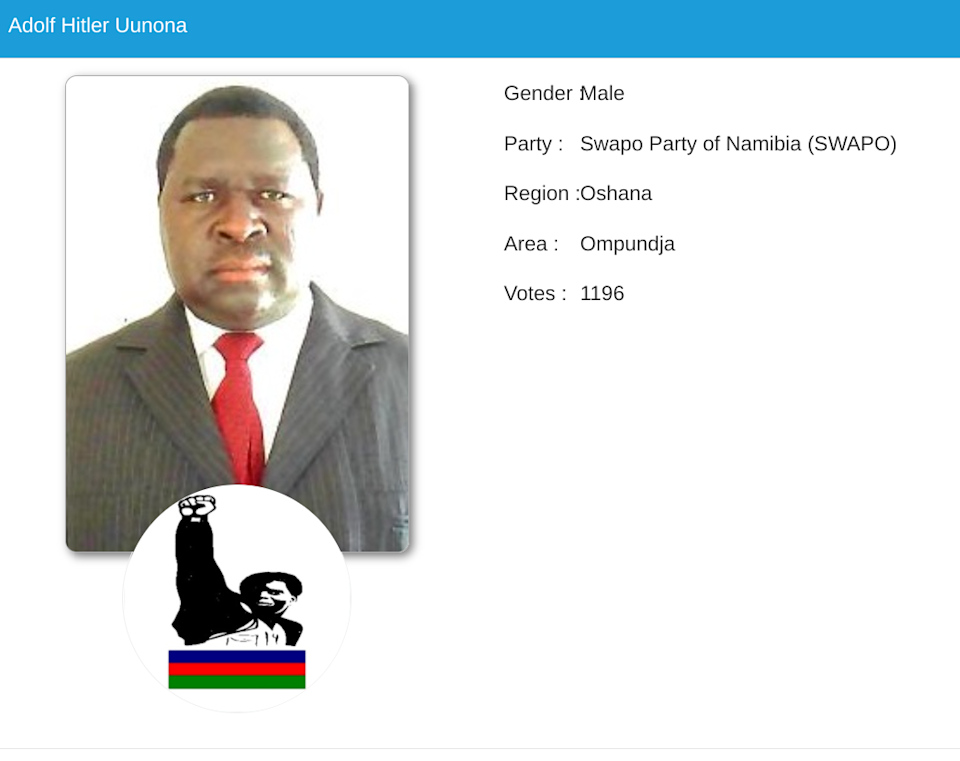 <p>Uunona won 1,196 votes in the recent election</p>Electoral Commission of Namibia