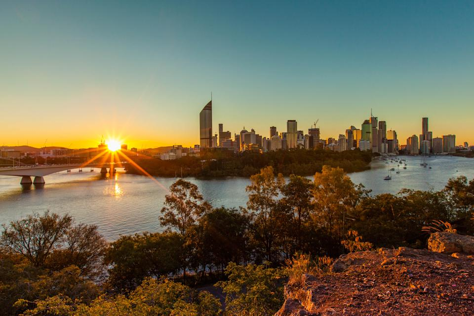 View of Brisbane City from Kangaroo Point as the sunsets.