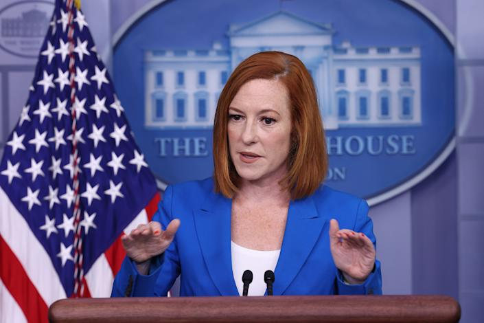 White House Press Secretary Jen Psaki gestures as she speaks at a daily press briefing in the James Brady Press Briefing Room of the White House on July 27, 2021 in Washington, DC. (Anna Moneymaker/Getty Images)