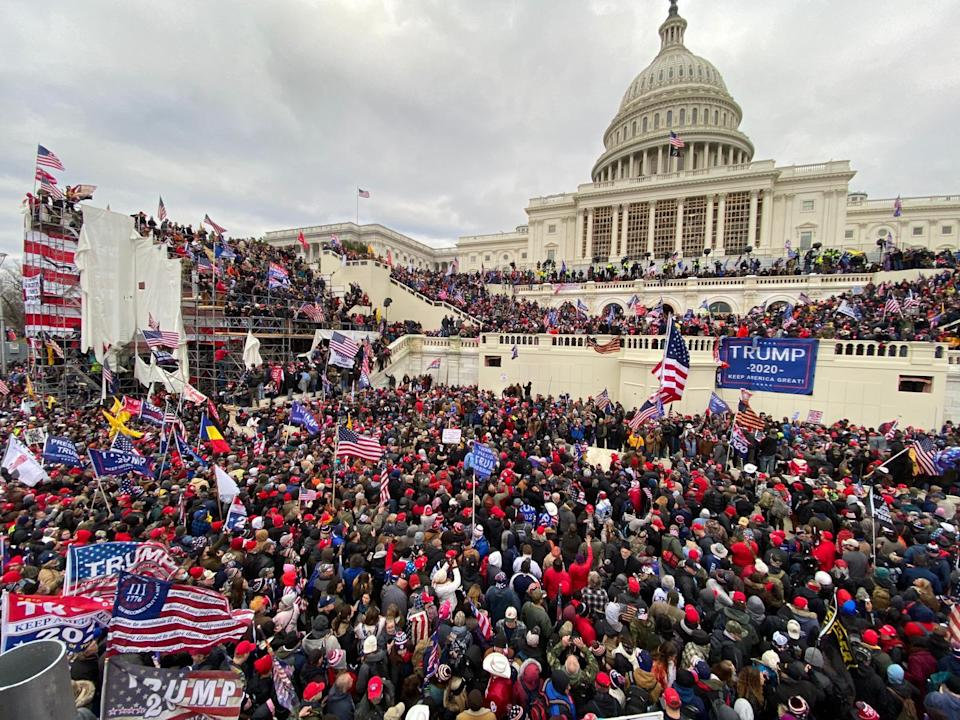 Pro-Trump rioters stormed the US Capitol as lawmakers were set to sign off Wednesday on President-elect Joe Biden's electoral victory in what was supposed to be a routine process headed to Inauguration Day. (Photo by Tayfun Coskun/Anadolu Agency via Getty Images)