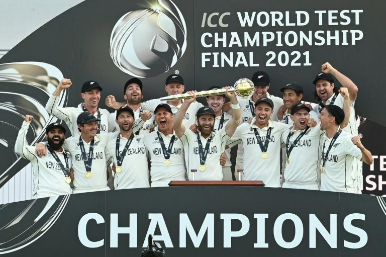 Winners - New Zealand's captain Kane Williamson lifts the trophy mace after an eight-wicket win over India in the World Test Championship final at Southampton on Wednesday