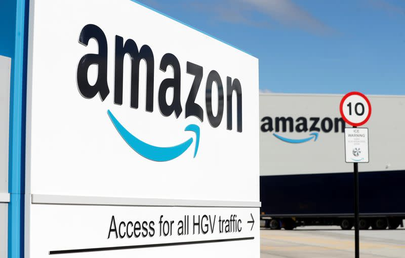 An Amazon logo is seen at its centre in Darlington