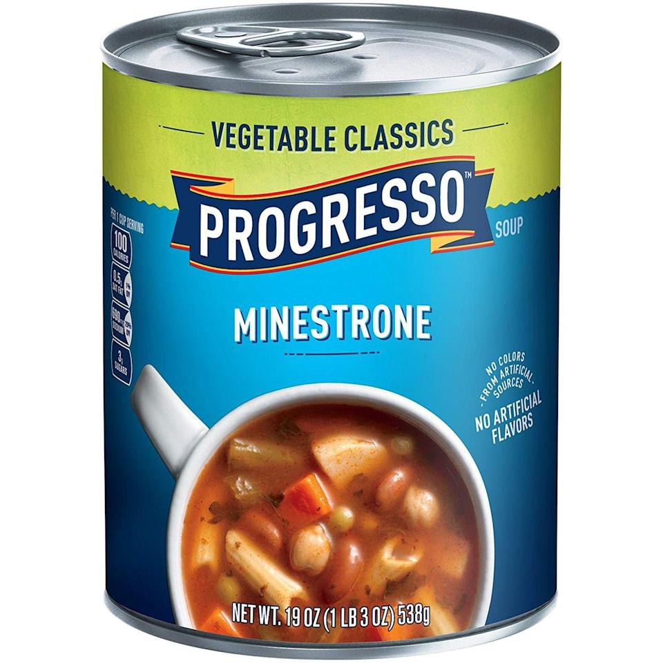 """<p>Lemme tell ya, we tried a lot of bad minestrones. Some with mushy noodles, others with rock-hard chickpeas, and many with an oddly sweet tomato broth. This soup has none of those issues. With a velvety, well-seasoned broth and tender veggies, Progresso's minestrone won by a landslide. </p><p><strong><em><a class=""""link rapid-noclick-resp"""" href=""""https://www.mercato.com/item/progresso-vegetable-classics-soup-minestrone-19-ounces/2731?featuredStoreId=501&gclid=CjwKCAiAlajvBRB_EiwA4vAqiHzJJ3gsT57P9Go2wCuIxjFBS-CBmgdAJRAXxp4K5X1OT-fLx0o1FxoCx_kQAvD_BwE"""" rel=""""nofollow noopener"""" target=""""_blank"""" data-ylk=""""slk:BUY NOW"""">BUY NOW</a> Progresso Minestrone, $2</em></strong></p>"""