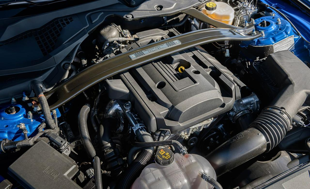 <p>The upgraded turbocharged 2.3-liter inline-four that comes with the High Performance package is inherited from the now-extinct Ford Focus RS hatchback. This enhanced turbo four makes 332 horsepower and sends 350 lb-ft of torque to the rear wheels through a standard six-speed manual or an optional 10-speed automatic transmission.</p>