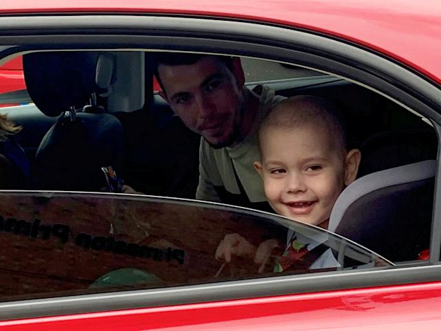 Oscar Saxelby-Lee has returned to the UK after life-saving treatment in Singapore. (SWNS)