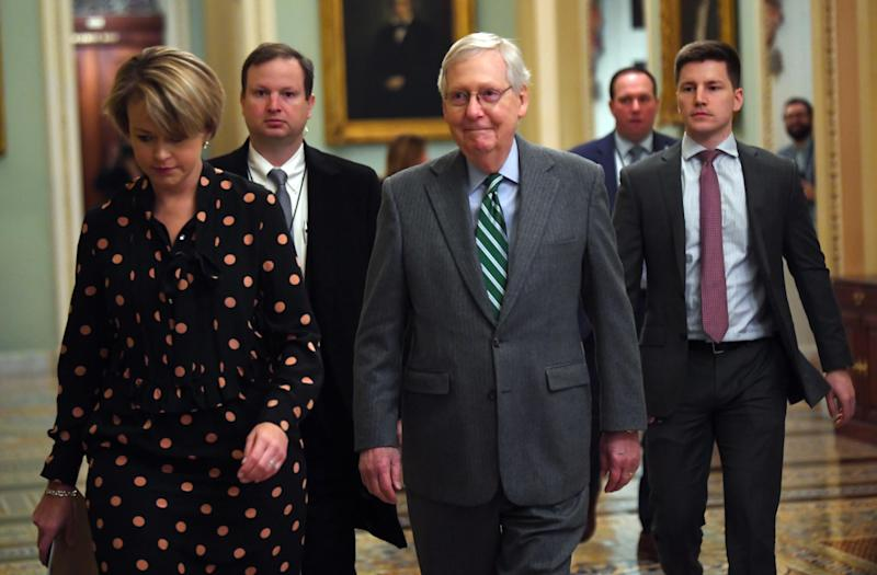 Senate Majority Leader Mitch McConnell, R-Ky., arrives at the Capitol in Washington on Jan. 16, 2020. The articles of impeachment against President Donald Trump will be formally read to the Senate by Adam Schiff, lead impeachment manager.
