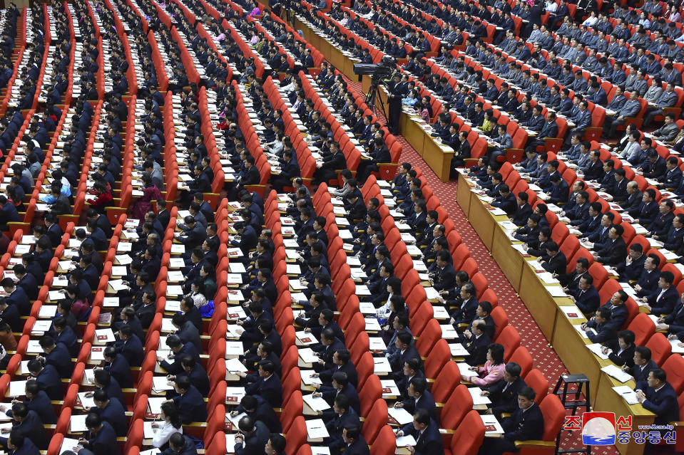 "In this photo provided by the North Korean government, a ruling party congress is held in Pyongyang, North Korea Tuesday, Jan. 5, 2021. North Korean leader Kim Jong Un opened its first Workers' Party Congress in five years with an admission of policy failures and a vow to lay out new developmental goals, state media reported Wednesday. Independent journalists were not given access to cover the event depicted in this image distributed by the North Korean government. The content of this image is as provided and cannot be independently verified. Korean language watermark on image as provided by source reads: ""KCNA"" which is the abbreviation for Korean Central News Agency. (Korean Central News Agency/Korea News Service via AP)"