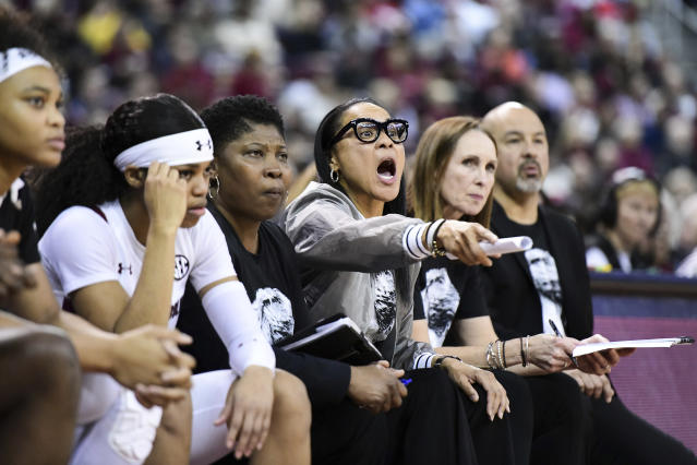 South Carolina head coach Dawn Staley has her team atop the polls again this week. (AP Photo/Sean Rayford)