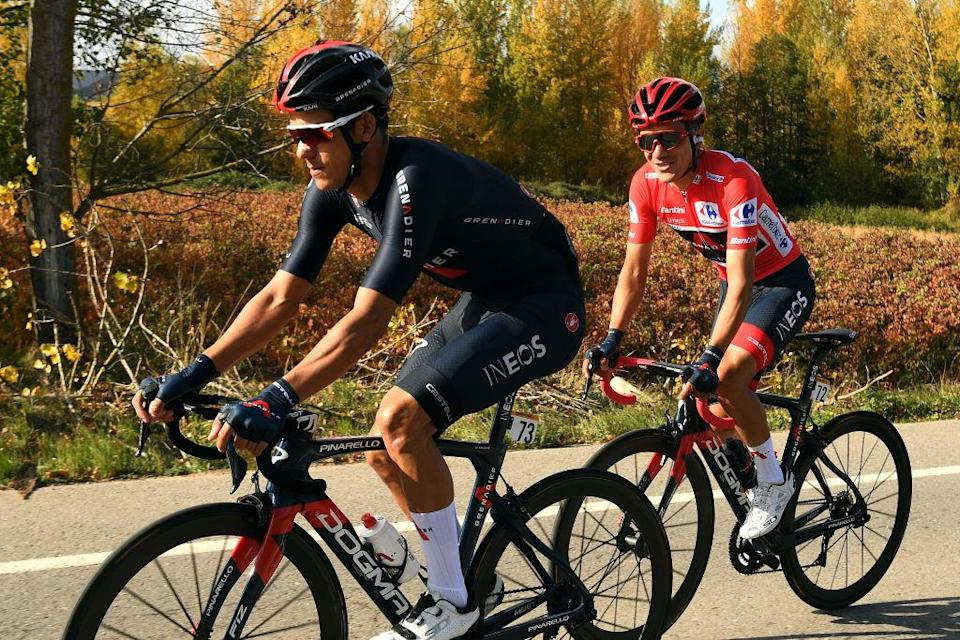 ALTODEMONCALVILLO SPAIN  OCTOBER 28 Andrey Amador Bikkazakova of Costa Rica and Team INEOS  Grenadiers  Richard Carapaz of Ecuador and Team INEOS  Grenadiers Red Leader Jersey  during the 75th Tour of Spain 2020 Stage 8 a 164km stage from Logroo to Alto de Moncalvillo 1490m  lavuelta  LaVuelta20  on October 28 2020 in Alto de Moncalvillo Spain Photo by David RamosGetty Images