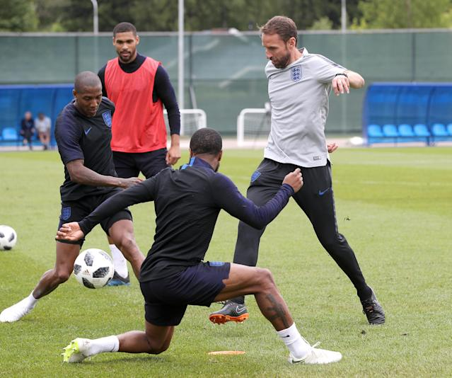 Getting involved: Gareth Southgate takes part in a drill with his players. (Getty)