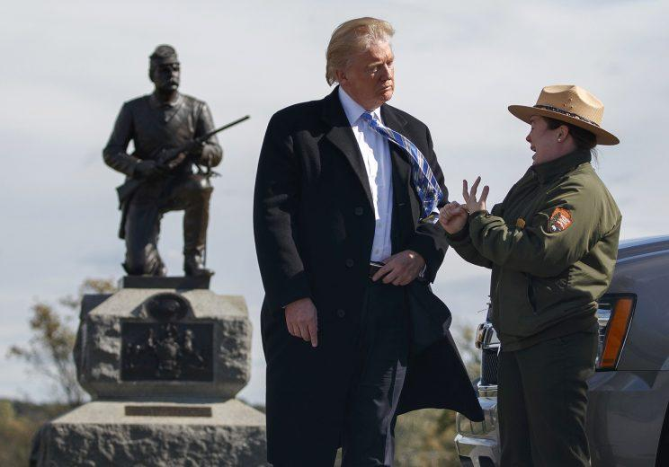 Donald Trump listens to a park ranger while on a tour at Gettysburg National Military Park, Oct. 22, 2016, in Gettysburg, Pa. (Photo: Evan Vucci/AP)
