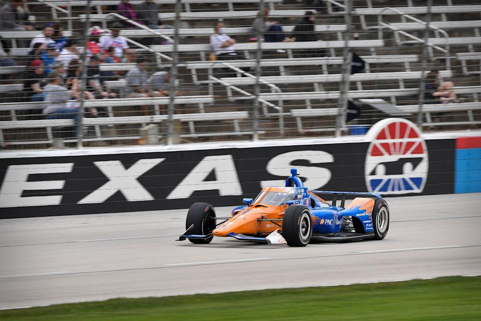 Scott Dixon dominated the first of two weekend races at Texas Motor Speedway.