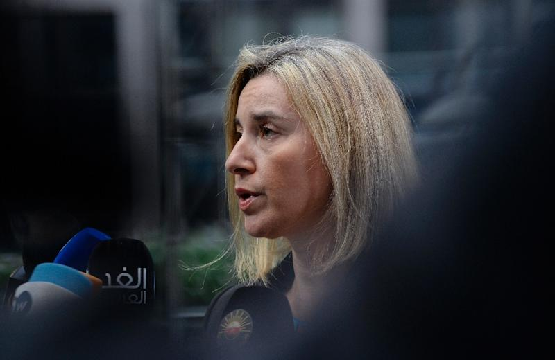 EU foreign policy chief Federica Mogherini, pictured November 29, 2015 in Brussels, met with Israeli Prime Minister Benjamin Netanyahu November 30 in on the sidelines of the Paris COP21 summit to discuss a flashpoint goods-labelling dispute (AFP Photo/Thierry Charlier)