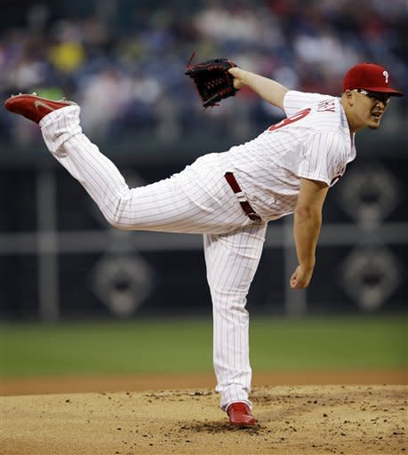 Philadelphia Phillies' Vance Worley pitches in the first inning of a baseball game against the Los Angeles Dodgers, Monday, June 4, 2012, in Philadelphia. (AP Photo/Matt Slocum)