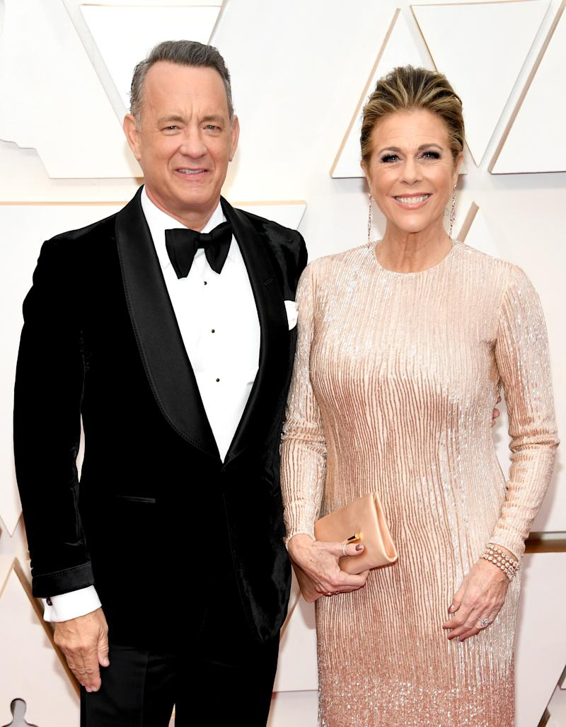 HOLLYWOOD, CALIFORNIA - FEBRUARY 09: (L-R) Tom Hanks and Rita Wilson attend the 92nd Annual Academy Awards at Hollywood and Highland on February 09, 2020 in Hollywood, California. (Photo by Kevin Mazur/Getty Images)