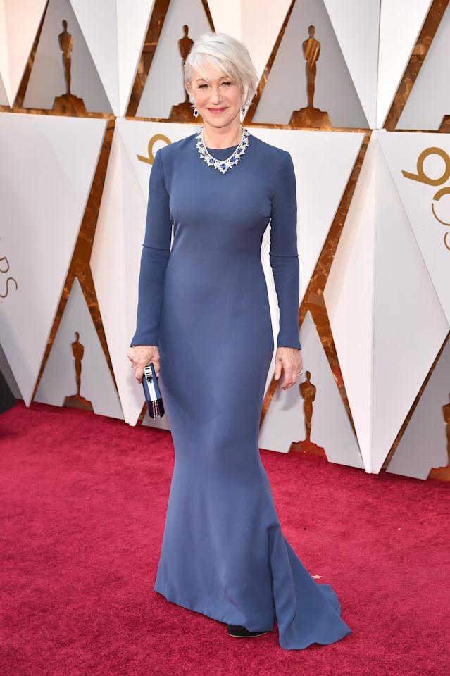 <p>Helen Mirren shows that age is just a number bringing class and sophistication to the red carpet wearing a corn-flower blue floor-length gown and sapphire diamond necklace.</p>