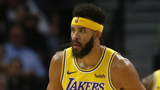 """Lakers center JaVale McGee has asthma but he's not worried about resuming the NBA season during the COVID-19 pandemic. <span class=""""copyright"""">(Jim Mone / Associated Press)</span>"""