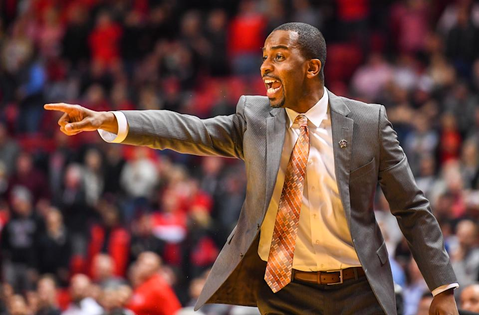 LUBBOCK, TX - FEBRUARY 27: Head coach Mike Boynton of the Oklahoma State Cowboys shouts instructions to his team during the second half of the game against the Texas Tech Red Raiders on February 27, 2019 at United Supermarkets Arena in Lubbock, Texas. Texas Tech defeated Oklahoma State 84-80 in overtime. (Photo by John Weast/Getty Images)