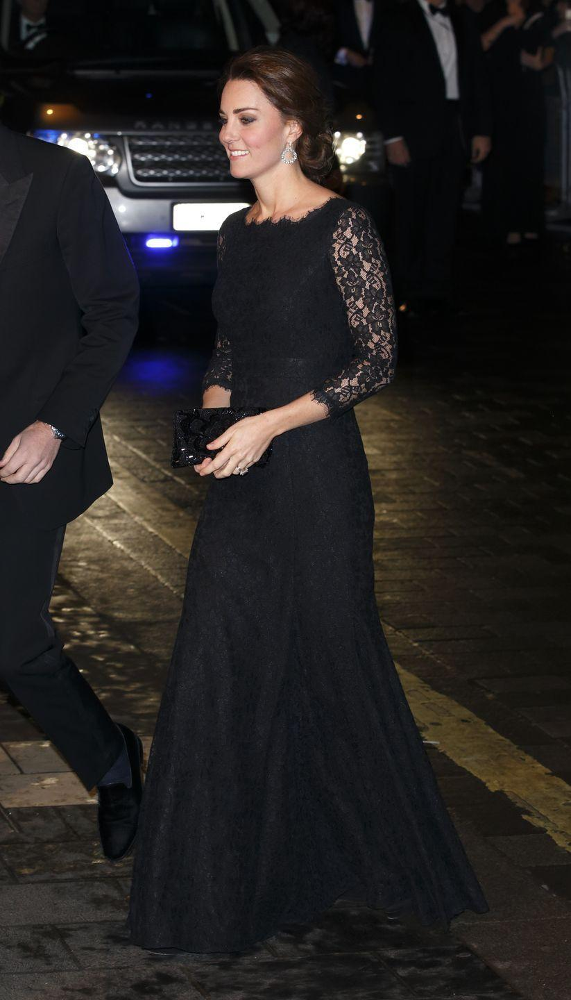 <p>Dresses with lace overlay and lace sleeves stand the test of time, as proven by this picture of Kate arriving at a Royal Variety performance in London in 2014.</p>