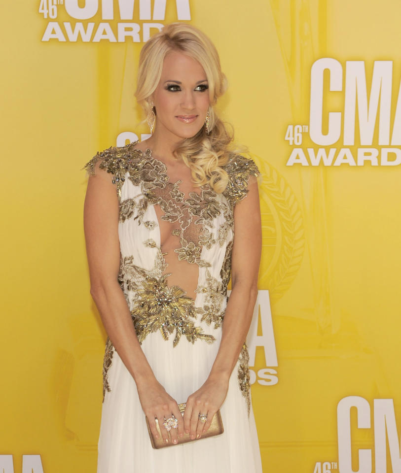 Carrie Underwood arrives at the 46th Annual Country Music Awards at the Bridgestone Arena on Thursday, Nov. 1, 2012, in Nashville, Tenn. (Photo by Chris Pizzello/Invision/AP)