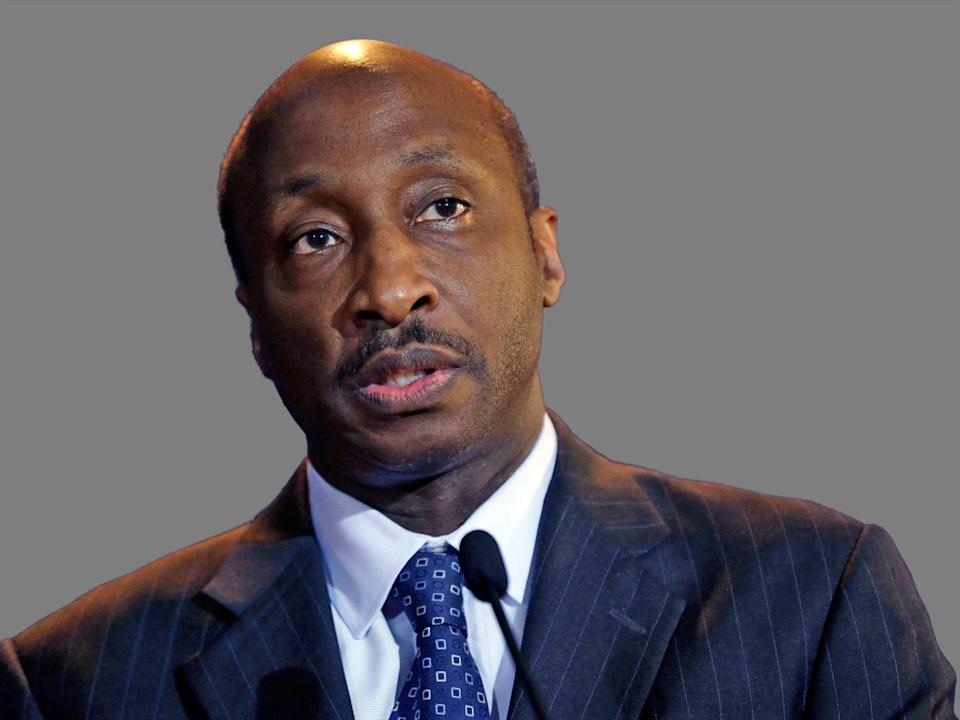 Kenneth Frazier  headshot, as Merck pharmaceutical company Chairman of the board, president, and CEO, graphic element on gray
