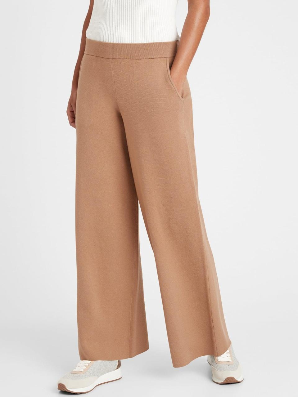 <p>The cut of this <span>Banana Republic Wide-Leg Sweater Pant</span> ($110) certainly elevates the comfy look.</p>