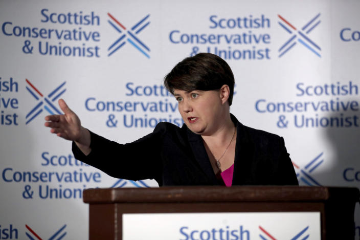 Leader of the Scottish Conservatives Ruth Davidson during a press conference in Edinburgh, Scotland, following her announcement that she has resigned as leader of the Scottish Conservatives, Thursday Aug. 29, 2019. Ruth Davidson resigns as Scottish Conservative Party leader amid political firestorm on Brexit, and cites family reasons for her decision to stand down. (Jane Barlow/PA via AP)