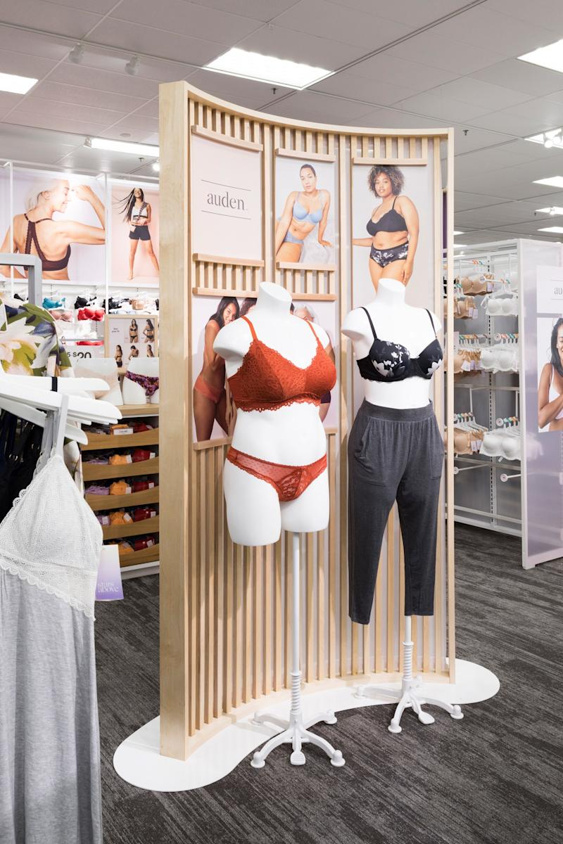 Lingerie on display at a Target store, with size-diverse mannequins