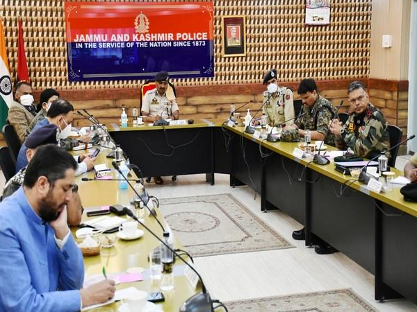 Director-General of Police (DGP) Jammu and Kashmir in a metting with officers on Saturday. Photo/ANI