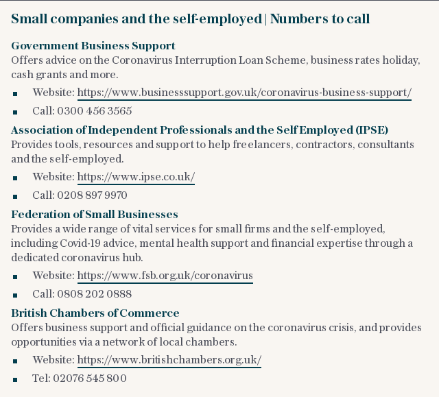Small companies and the self-employed   Numbers to call