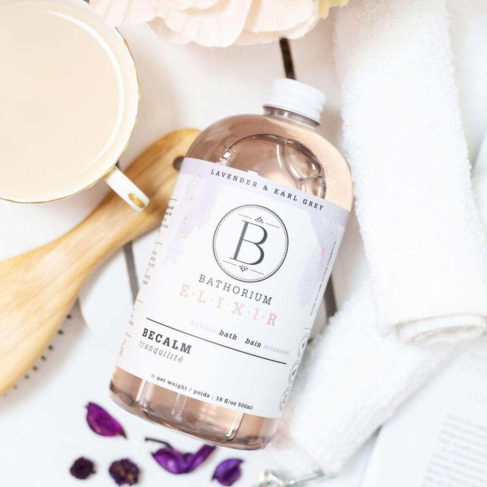 <p>Give yourself some much needed R+R with the <span>Bathorium BeCalm Bubble Elixir</span> ($32). Bathorium will be donating a portion of proceeds from all online and wholesale sales with a goal of $50,000 to Born this Way Foundation. </p>