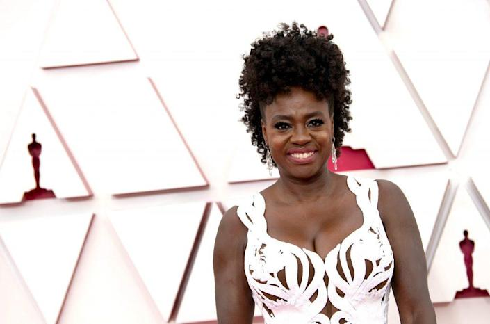 In this handout photo provided by A.M.P.A.S., Viola Davis attends the 93rd Annual Academy Awards at Union Station on April 25, 2021 in Los Angeles, California. (Photo by Matt Petit/A.M.P.A.S. via Getty Images)
