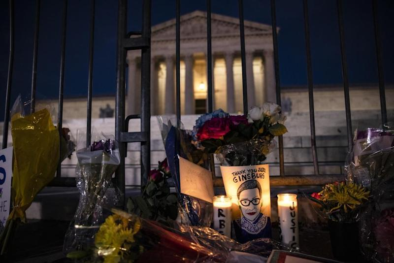 Mementos in a makeshift memorial in front of the supreme court in Washington.