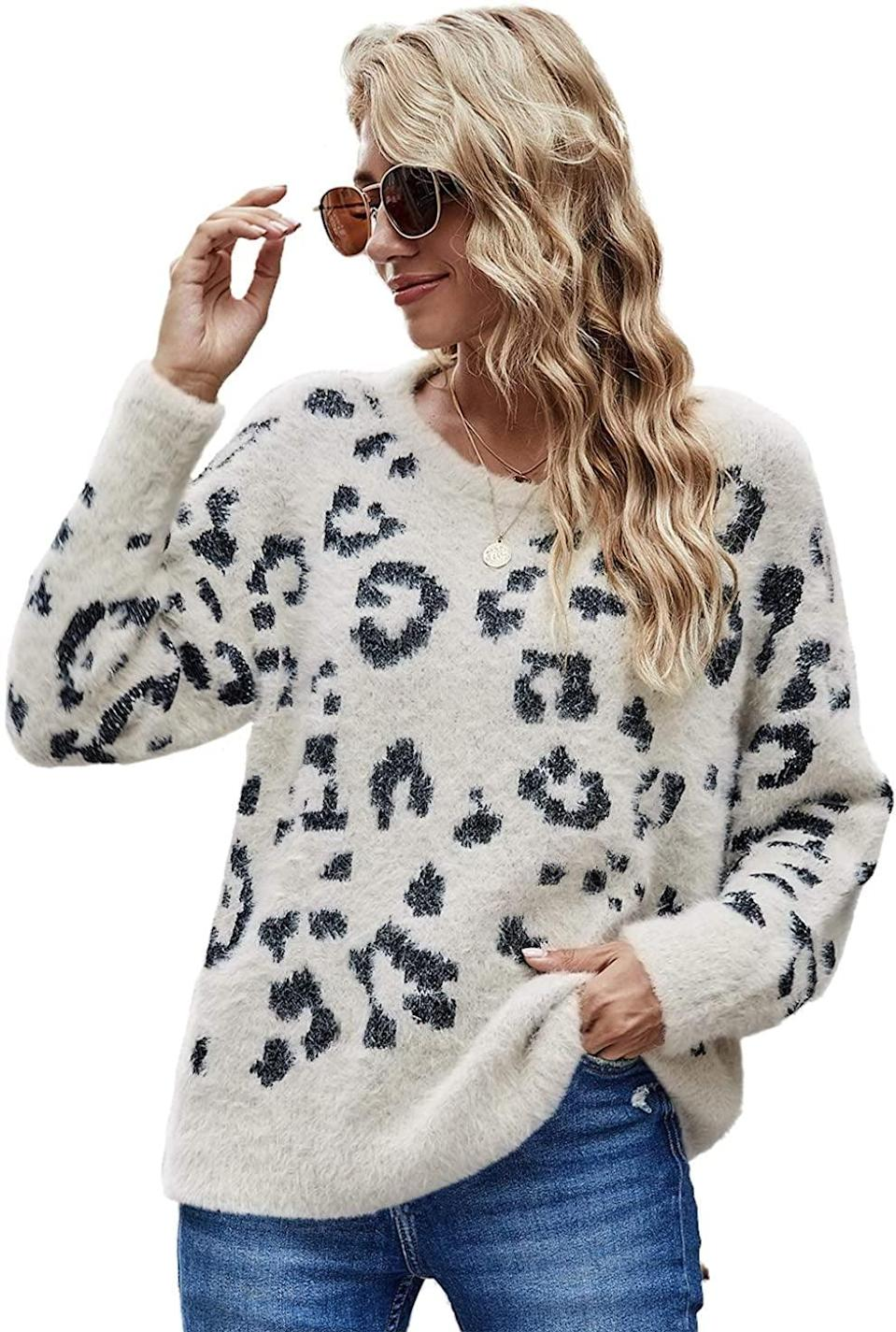<p>This <span>Hzsonne Casual Leopard Crewneck Loose Fit Sweater</span> ($26-$30) is both fuzzy <em>and</em> cute.</p>