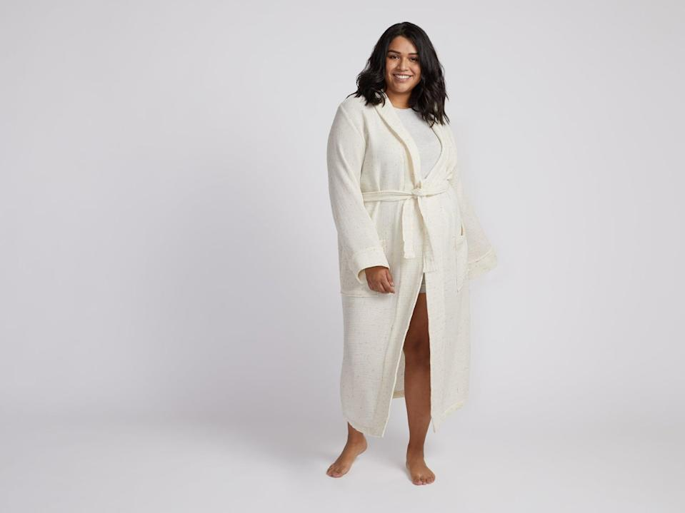 <p>This soft and lightweight <span>Parachute Speckled Waffle Robe</span> ($129) is perfect for every season.</p>