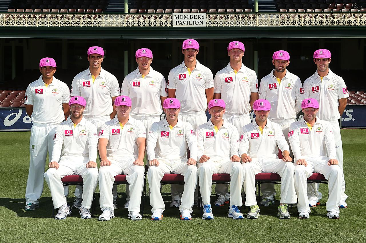 SYDNEY, AUSTRALIA - JANUARY 01:  The Australian Mens Test team pose for a photograph wearing the 'Baggy Pink' in support of the McGrath Foundation prior to an Australian nets session at Sydney Cricket Ground on January 1, 2013 in Sydney, Australia.  (Photo by Brendon Thorne/Getty Images)