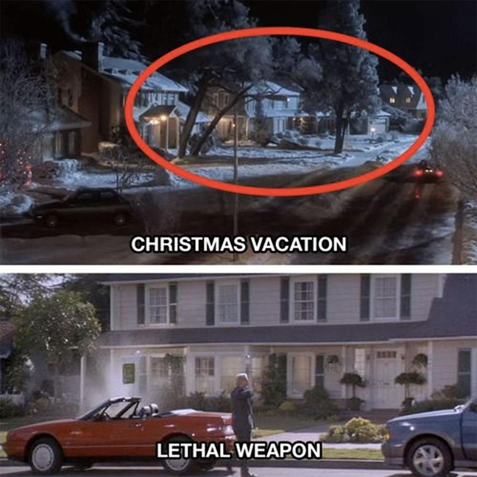 <p>The house next door to the Griswolds in 'Christmas Vacation' is the same house that Murtagh lives in in 'Lethal Weapon'. The whole street is part of the Warner Brothers Studios back lot. </p>