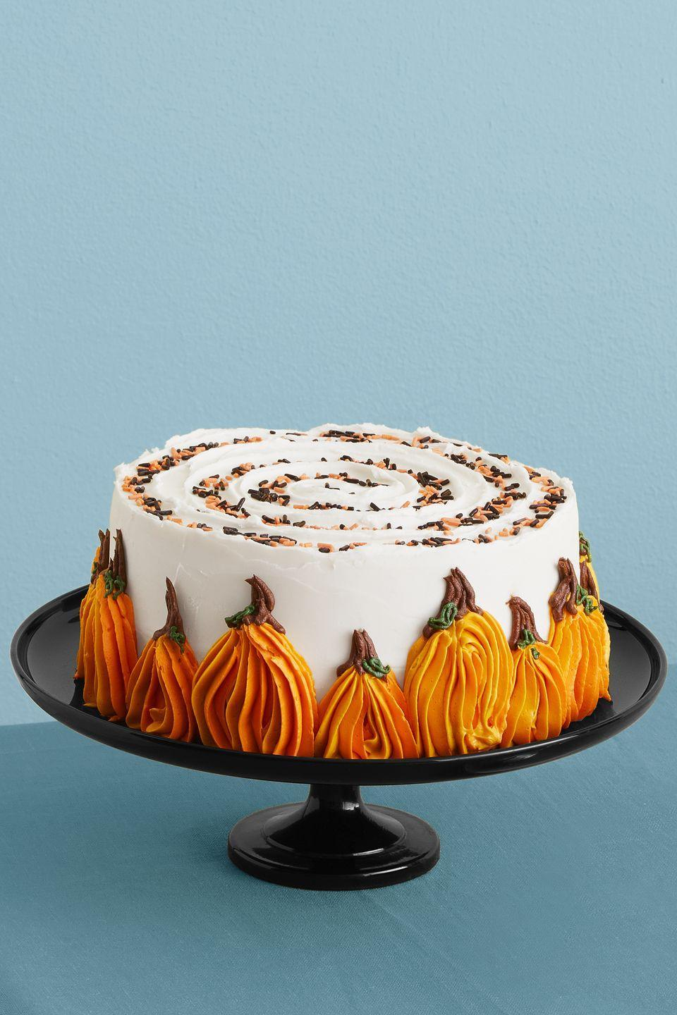 """<p>This delicious pumpkin cake comes with a tasty surprise inside: It's studded with chocolate chips!</p><p><em><a href=""""https://www.womansday.com/food-recipes/a33564114/pumpkin-chocolate-chip-cake-recioe/"""" rel=""""nofollow noopener"""" target=""""_blank"""" data-ylk=""""slk:Get the recipe for Pumpkin Chocolate Chip Cake."""" class=""""link rapid-noclick-resp"""">Get the recipe for Pumpkin Chocolate Chip Cake.</a></em></p>"""