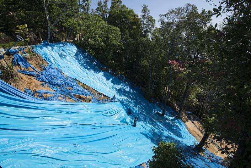 It will take a few years to fully restore and rehabilitate landslides all around Penang Hill. — Picture by Steven Ooi KE