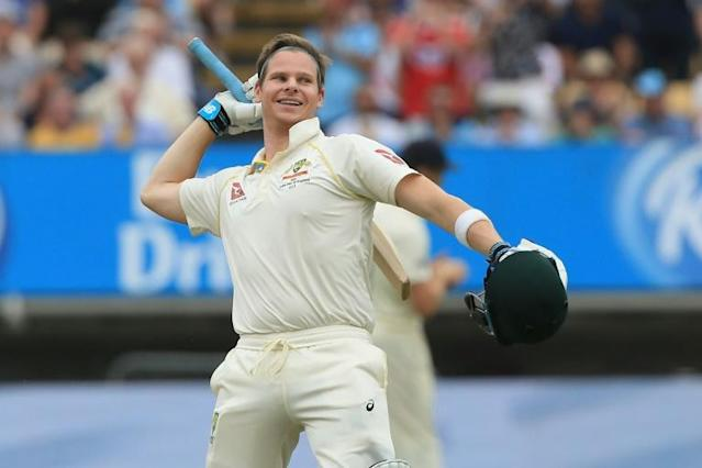 Australia's Steve Smith celebrates reaching his second century of the first Ashes Test at Edgbaston (AFP Photo/Lindsey Parnaby)