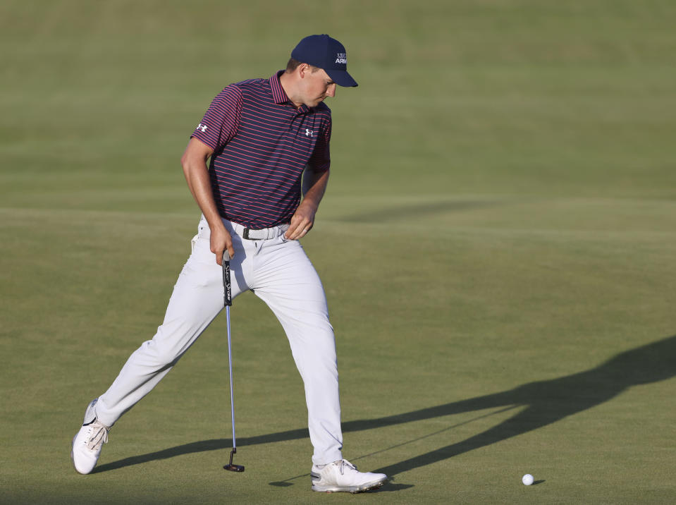 United States' Jordan Spieth eacts after putting on the 18th green during the third round of the British Open Golf Championship at Royal St George's golf course Sandwich, England, Saturday, July 17, 2021. (AP Photo/Ian Walton)