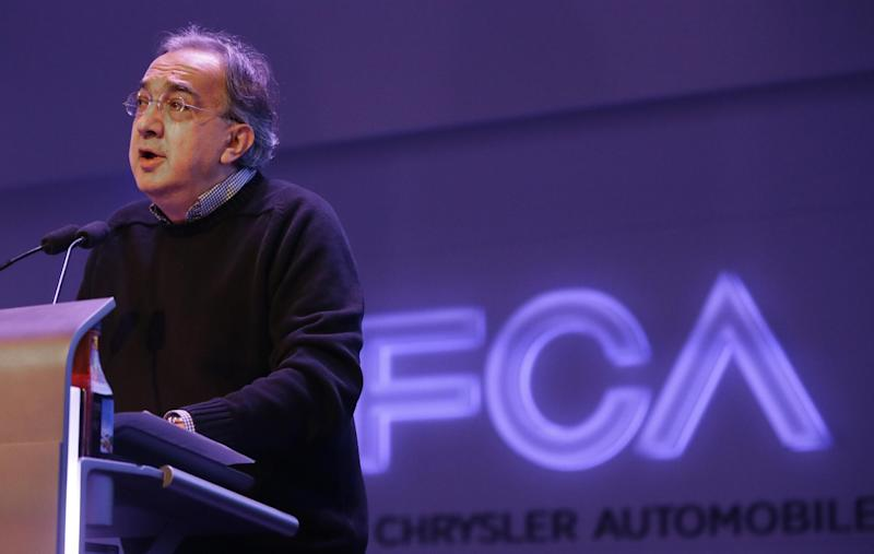 Chrysler Group LLC Chairman and CEO Sergio Marchionne speaks to investors at the automaker's world headquarters in Auburn Hills, Mich., Tuesday, May 6, 2014. Fiat Chrysler Automobiles NV unveiled its business strategy for the next five years as it prepares for life as a newly merged company. (AP Photo/Carlos Osorio)