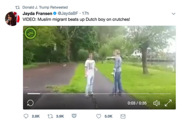 One of the unverified videos re-tweeted by Donald Trump from Britain First Deputy Leader Jayda Fransen, who has since been banned from Twitter.