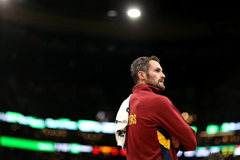 Cavaliers forward Kevin Love is maybe the best available player on the trade market. (Maddie Meyer/Getty Images)