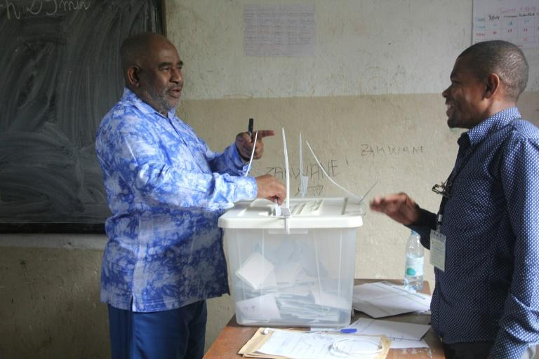 President Azali Assoumani, pictured here casting his vote, and his allies are running virtually unopposed (AFP Photo/Ibrahim YOUSSOUF)