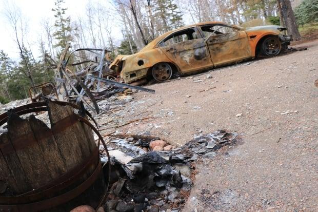 The burned out remains of the gunman's home on Portapique Beach Road, N.S., are seen in May 2020.  (Steve Lawrence/CBC - image credit)