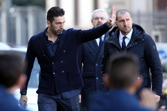 <p>Gianluigi Buffon of Juventus during the funeral of Davide Astori on March 8, 2018 in Florence, Italy. (Photo by Gabriele Maltinti/Getty Images) </p>