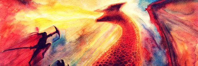 Watercolor painting of a giant red dragon breathing yellow fire