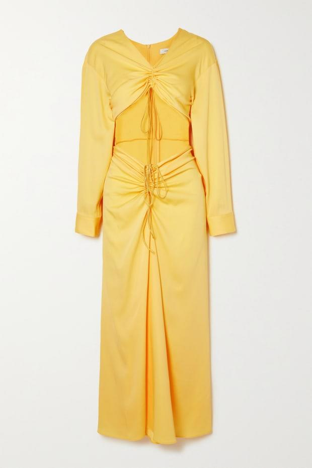 """<p>Christopher Esber Ruched Cutout Woven Maxi Dress, $1,039, <a href=""""https://rstyle.me/+btwGE8lkC6agjDffzclbvw"""" rel=""""nofollow noopener"""" target=""""_blank"""" data-ylk=""""slk:available here"""" class=""""link rapid-noclick-resp"""">available here</a> (sizes UK 6-UK 14). </p>"""