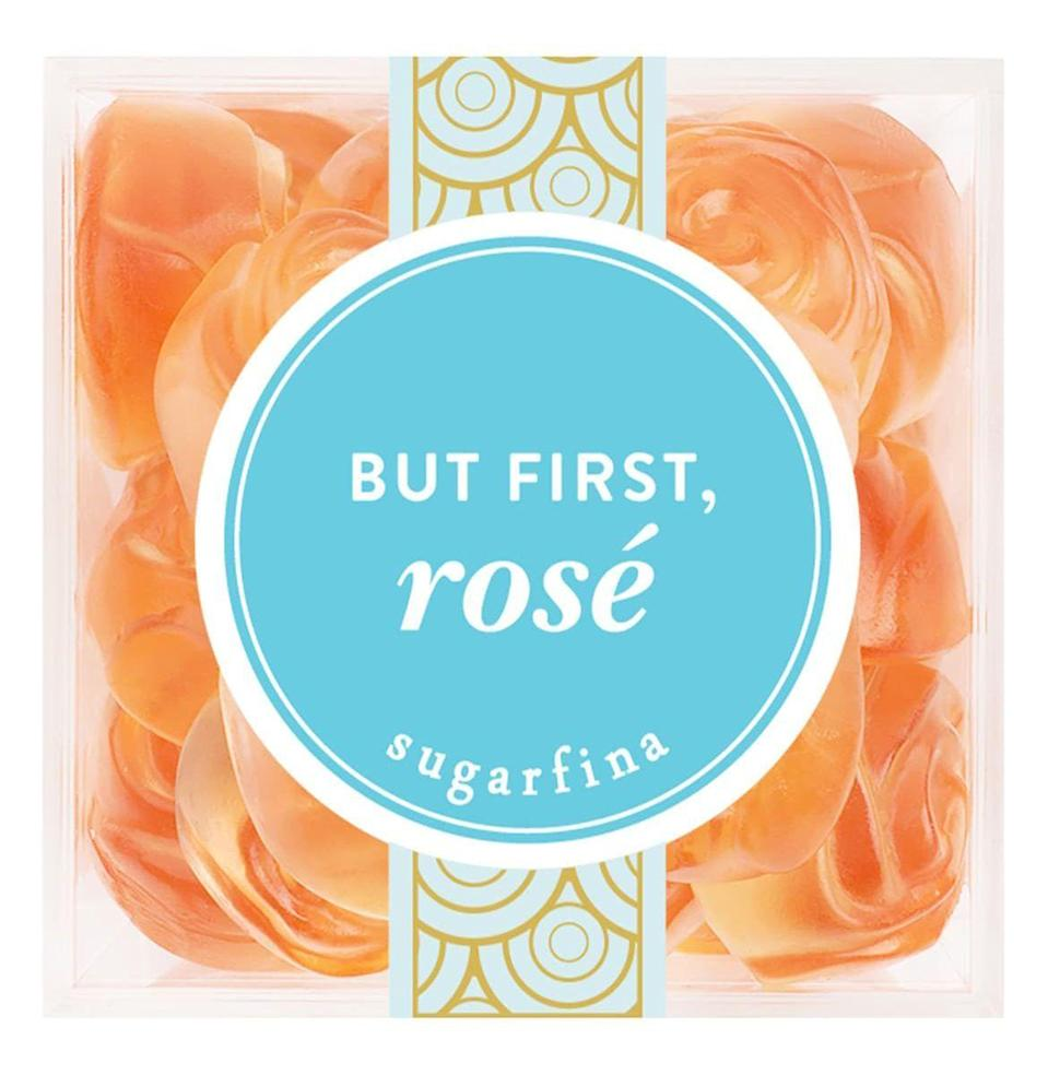 """<p><strong>Sugarfina</strong></p><p>nordstrom.com</p><p><strong>$20.00</strong></p><p><a href=""""https://go.redirectingat.com?id=74968X1596630&url=https%3A%2F%2Fshop.nordstrom.com%2Fs%2Fsugarfina-but-first-rose-candy-cube%2F5169963%2Ffull&sref=https%3A%2F%2Fwww.esquire.com%2Flifestyle%2Fg12222340%2Fwhite-elephant-gifts%2F"""" rel=""""nofollow noopener"""" target=""""_blank"""" data-ylk=""""slk:Buy"""" class=""""link rapid-noclick-resp"""">Buy</a></p><p>A decent bottle of wine is probably outside your desired price range. A box of little rose gummies, however, is not. </p>"""